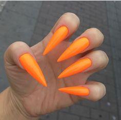 Fresh summer orange long stiletto nails