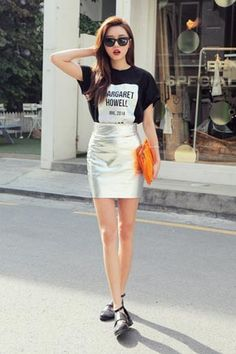 park sora in a graphic tee tucked in a holographic bandage skirt // korea stylenanda Korean Street Fashion, Korea Fashion, Kpop Fashion, Asian Fashion, Girl Fashion, Fashion Looks, Fashion Outfits, Womens Fashion, Style Fashion
