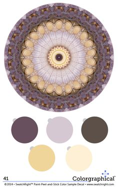 Color Inspiration 41 #ellenkennon #fullspectrum. Complete with paint color names + HEX codes. #purple #yellow #brown #lilac #lavender #paint #color - Swatch Right™ www.swatchright.com