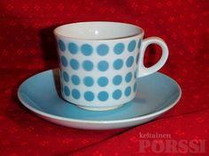 ARABIAN RETRO BR-MALLIN KAHVIKUPPI, TURKOOSI POP Dining Area, Kitchen Dining, Finland, Tea Cups, Dots, Pottery, Clay, Retro, Tableware