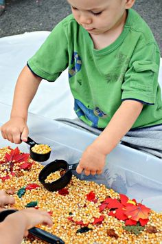 Kids will learn math concepts (measuring, volume) with this awesome fall-themed sensory bin, and they won't even know it.: Kids will learn math concepts (measuring, volume) with this awesome fall-themed sensory bin, and they won't even know it. Fall Sensory Bin, Sensory Tubs, Sensory Boxes, Sensory Activities, Sensory Play, Preschool Activities, Sensory Diet, Motor Activities, Autumn Activities For Kids