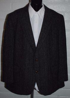 Harris Tweed Sport Coat 46 Reg Wool 2 Button Notched Lapel Single Vent #HarrisTweed #TwoButton