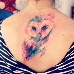 Adrian Bascur Watercolor Owl Tattoo | Minimal Tattoos