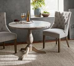 Inspired by a Paris Bistro - Pottery Barn Alexandra Marble Pedestal Dining Table with two chairs Round Marble Table, Round Pedestal Dining Table, Concrete Dining Table, Reclaimed Wood Dining Table, Extendable Dining Table, Dining Room Table, Dining Chairs, Wood Pedestal, Round Tables