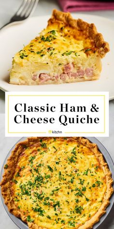 Recipe: Easy Ham and Cheese Quiche - Easy ham and cheese quiche is a great option for Easter brunch or for a spring breakfast. Make a quiche on a Sunday and you are set for lunch and breakfast for the week. Breakfast And Brunch, Breakfast Recipes, Ham Breakfast Casserole, Breakfast Quiche, Ham And Cheese Quiche, Ham And Swiss Quiche, Easy Cheese Quiche Recipe, Simple Quiche Recipes, Ham And Broccoli Quiche