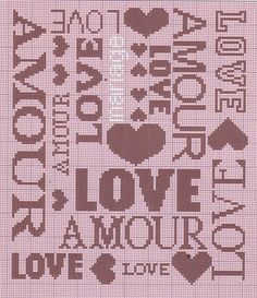 Cross-stitch Love chart ... no color chart available, just use the pattern chart as your color guide.. or choose your own colors...