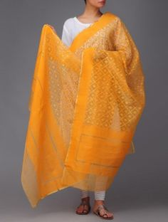 Orange-Golden Banarasi Cotton Dupatta by Ekaya
