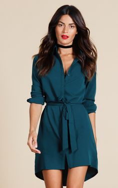 Looking for Long Sleeve Dresses? Call off the search with our Mini Shirt Dress In Pine Green. Shop unique fashion at SilkFred Mini Shirt Dress, Blouse Dress, Dress Skirt, Green Shirt Dress, Teal Shirt, Belted Shirt Dress, Casual Dresses, Short Dresses, Casual Outfits