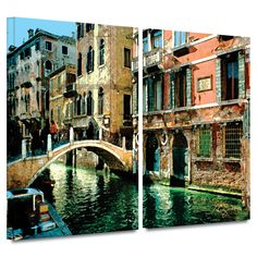 'Venice Canal' by George Zucconi 2 Piece Photographic Print Gallery-Wrapped on Canvas Set