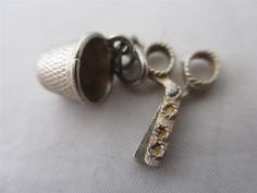 VINTAGE ENGLISH CHARM c1960 STERLING SILVER SEWING SCISSORS & THIMBLE