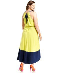 Love Squared Plus Size Dress, Halter Colorblocked Maxi - Plus Size Dresses - Plus Sizes - Macys