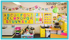 use dust jackets from hardcover children's books to create a banner for the classroom