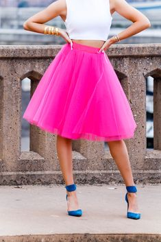Hot Pink Tulle Skirt - love 'n' labels, pink midi tulle skirt, pink tulle skirt, pink midi skirt, Space 46 tulle, adult tutu, birthday outfit inspirations, Valentine's outfit inspirations