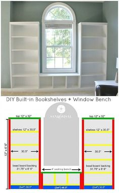 Diy Furniture : DIY Built-in Bookshelves  Window Bench Tutorial with beadboard and rope trim mo