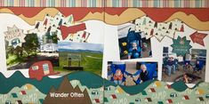 """Wander Often"" 2 page layout using Adventure Awaits Kiwi Kit club for June 2018 - Kiwi Lane Templates used: Wilderness 1,2,3 - Lacey Trims 3 - Accents 4T - Highlights 3T - McKay Blvd 2A,2B - Aspen Courts 1A,2A,1B,2B - Designed by: Leslie Prinkki"