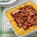 Italian Polenta Casserole  With our freeze-now, serve-later dishes, you can give your family a comfy meal on even the busiest weeknight. This Italian casserole delivers comfort with creamy polenta and a hearty tomato ragu studded with spicy sausage and eggplant.