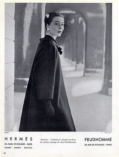 Hermès (Couture) 1955 Winter Coat Fashion Photography