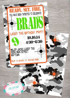 Laser Tag FREE BACKSIDE Army birthday party invitation. printable. digital download by LoveAByeBabyDesigns on Etsy