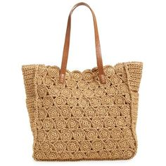 Straw Studios Crochet Tote ($44) ❤ liked on Polyvore