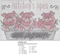 Cross-stitch Kitchen's Open - Let's pig out!, part 2 ... Cross stitch *♥* Point de croix Kreuzstich