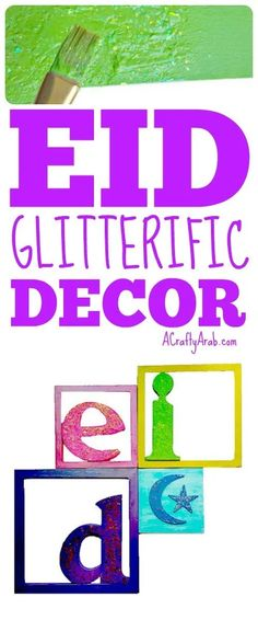 Now that Eid AlFitar is only eight days away, and Ramadan is coming to a close, we made this glitterific decor to get our home ready for a celebration. Eid Crafts, Ramadan Crafts, Ramadan Decorations, Ramadan Is Coming, Muslim Culture, Projects For Kids, Art Projects, Holidays Around The World, The Eighth Day