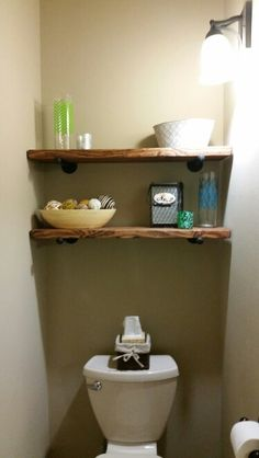 Bathroom shelving behind toilet