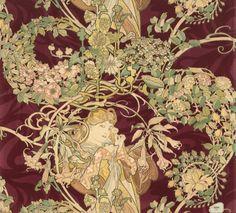 VMFA Art Deco & Art Nouveau Furnishing Fabric by Alphonse Mucha (1898 - 1900)