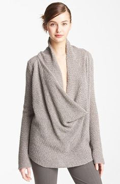 Donna Karan Drape Neck Cashmere Sweater