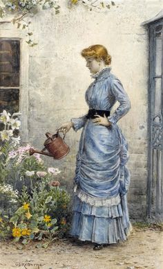 Watering the Flowers ~ George Goodwin Kilburne ~ (English: Art And Illustration, Victorian Gardens, Victorian Art, Vintage Pictures, Vintage Images, Art Ancien, Antique Paint, Inspiration Art, Pilgrim