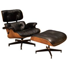 Vintage Charles and Ray Eames Rosewood 670 Lounge Chair and 671 Ottoman   From a unique collection of antique and modern lounge chairs at https://www.1stdibs.com/furniture/seating/lounge-chairs/