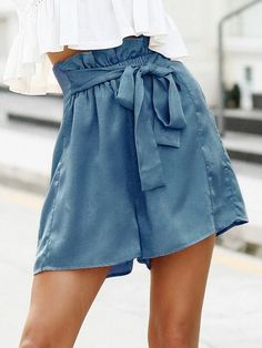 ((Affiliate Link)) Description Style:	Casual Color:	Dusty Blue Pattern Type:	Plain Details:	Belted, Ruffle, Paper Bag Waist Type:	Wide Leg Season:	Summer Composition:	100% Polyester Material:	Polyester Fabric:	Non-stretch Sheer:	No Fit Type:	Loose Waist Type:	High Waist Closure Type:	Elastic Waist Belt:	Yes Lining:	Yes