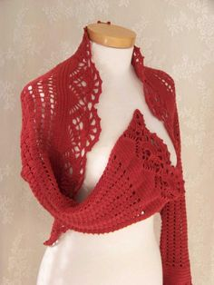 Red crochet shrug