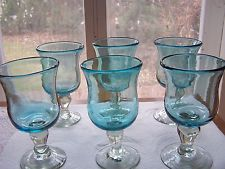6 GORGEOUS large goblets HAND BLOWN glass in light TURQUOISE/ AQUA