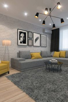 New Living Room White Grey Yellow Pillows 44 Ideas Living Room Decor Colors, Living Room Color Schemes, Living Room Lighting, Living Room Designs, Colour Schemes, Bedroom Lighting, Cottage Living Rooms, Living Room White, New Living Room
