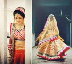 Navy blue and red bridal lengha