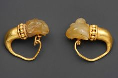 Gold Earrings with Rams Head   Yellow Chalcedony  Achaemenid Persian Empire  550–330 BC