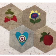 works in progress from the Monday Stitching Society... --  Embroidery on Wool Applique