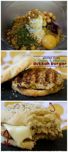 #Vegetarian Lemon & Chickpea #Dukkah Burgers on Best Ever #GlutenFree Burger Buns! Looks so yummy! Gluten Free Burger Recipe, Gluten Free Recipes, Vegetarian Recipes, Healthy Recipes, Sandwiches, Good Food, Yummy Food, Burger Buns, Cereal Recipes