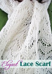 Knit an Elegant Lace Scarf with our free knitting pattern! Add a touch of elegance to your wardrobe by knitting this pretty scarf - or knit one to share with someone special. This would also make a lovely bridal gift. Change the color of the yarn to truly personalize this light lacy scarf and enjoy!