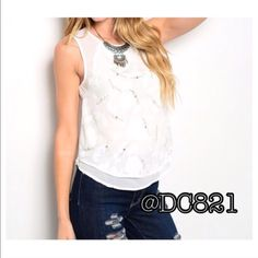 Gem Sleeveless Blouse Perfect white sleeveless blouse with crystal gem detail. Double lined on front and key hole closure on back. Made of a soft flowy chiffon/cotton blend. Size S, M, L Tops