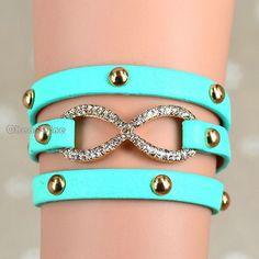1x Sea Green Tone Multi Wrap Cuff PU Leather Bangle Infinity Bridesmaid Bracelet | eBay