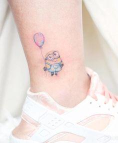 Tiny Minion Tattoo on Ankle