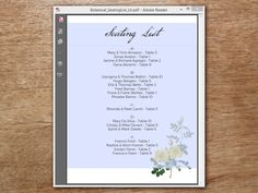 An editable PDF seating list from e.m.papers. The printable seating list features vintage roses and can be made in just minutes on your home printer.