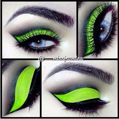 Love this Gorgeous Acid Green Eye Makeup with a Perfect Cut Crease ❤'d by makeupartistrycai. Makeup Inspo, Makeup Inspiration, Makeup Tips, Beauty Makeup, Hair Makeup, Makeup Style, Makeup Geek, Makeup Remover, Makeup Brushes