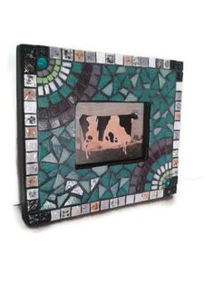 Picture Frame Glass Mosaic Teal Lilac Turquoise Home Decoration