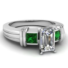 1.15 Ct Emerald Cut Diamond & Green Emerald Engagement Ring Bezel Set F-Color 14K