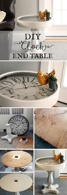 My plan all along was for the clock to actually work, which meant I had to be able to access the battery box to change batteries and set the time...  via @ohjuliana_ Fun Diy Projects For Home, Crafts For The Home, Wood Projects, Project Ideas, Home Crafts, Furniture Projects, Woodworking Projects Diy, Diy Furniture, Clock Table