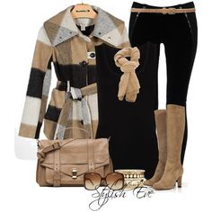 Winter Outfits Chic Plaid Coat and Suede Leather Boots