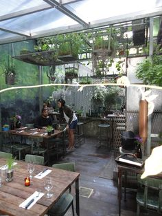 The garden at Edi and the Wolf. Fabulous cafe concept...