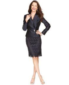 Tahari by ASL Suit, Satin Wrap Jacket & Lace Skirt - Womens Suits & Suit Separates - Macy's